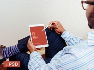 iPad Air In-Hand Photorealistic Mockup Freebie PSD