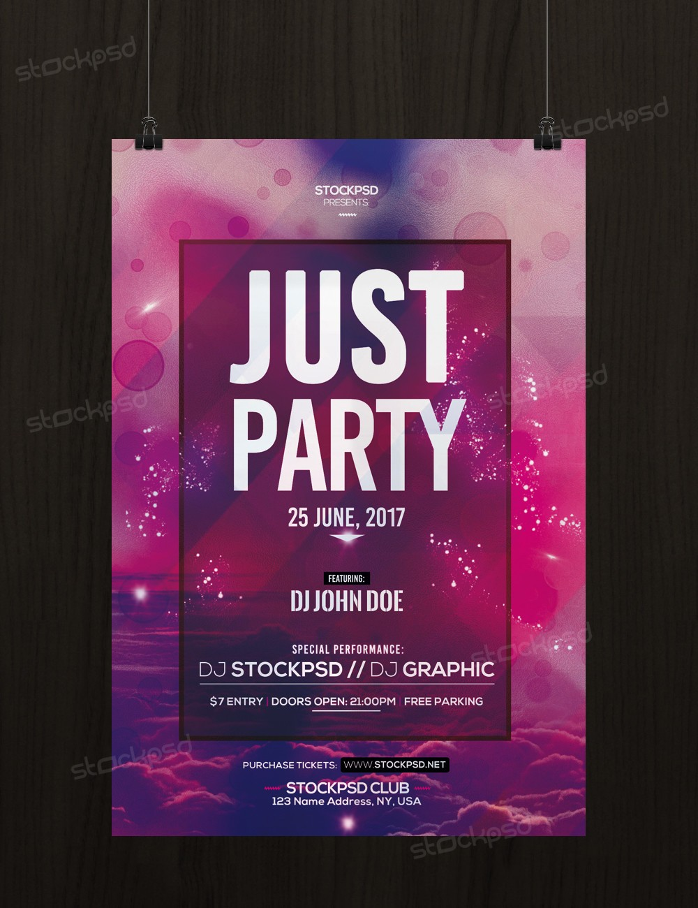 Just party download free psd flyer template stockpsd for Free psd flyer templates
