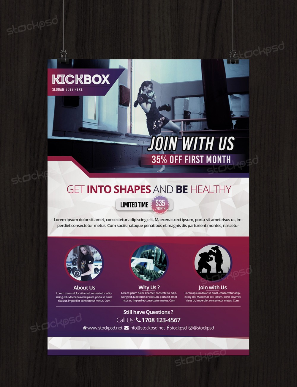kick boxing and gym free psd flyer template stockpsd