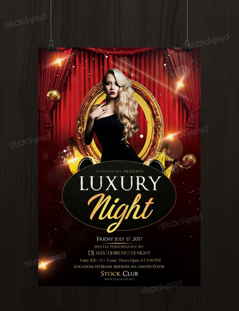 seasonal flyers psd flyer template stockpsd net luxury night psd flyer template