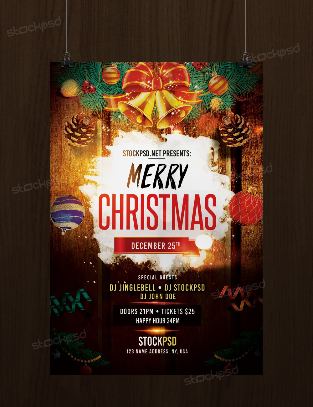 merry christmas psd flyer template stockpsd net