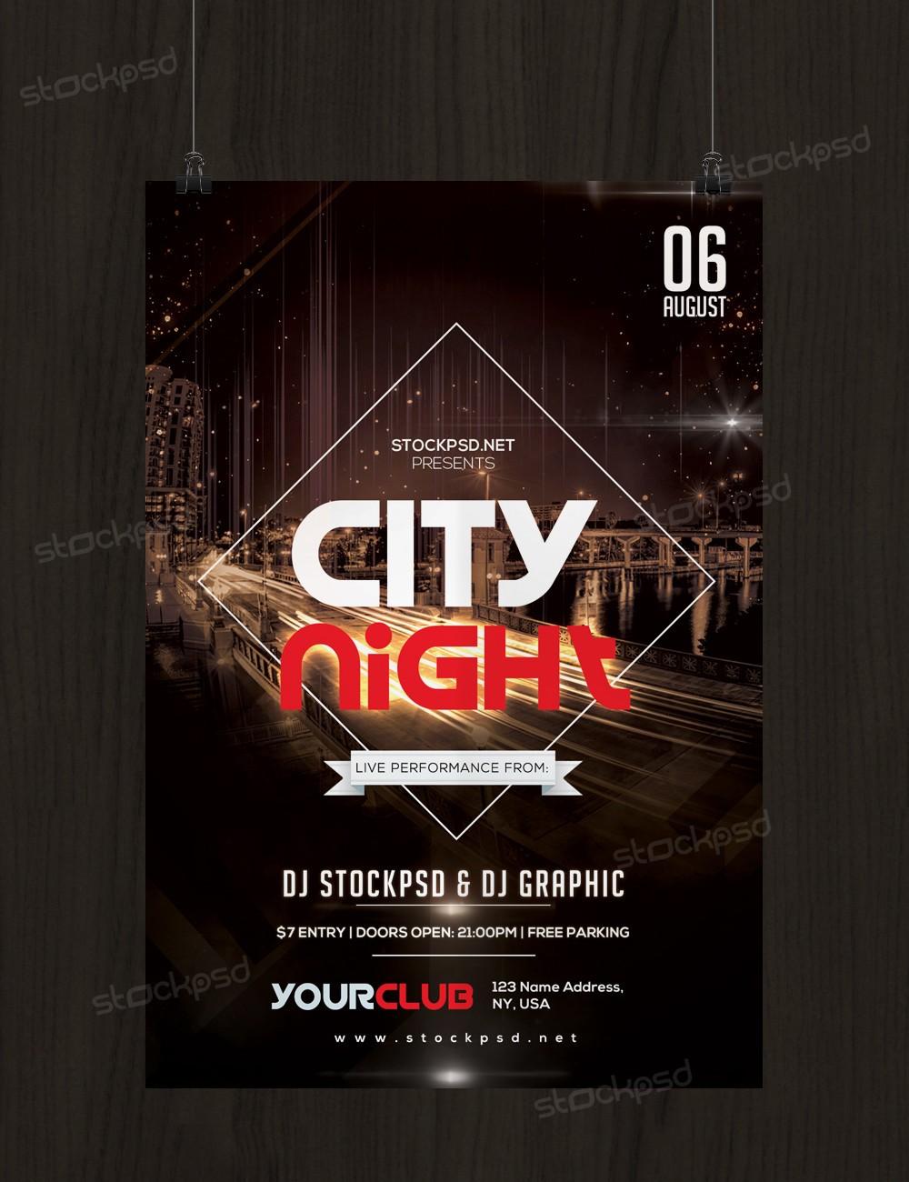 City Night – Free PSD Flyer Template