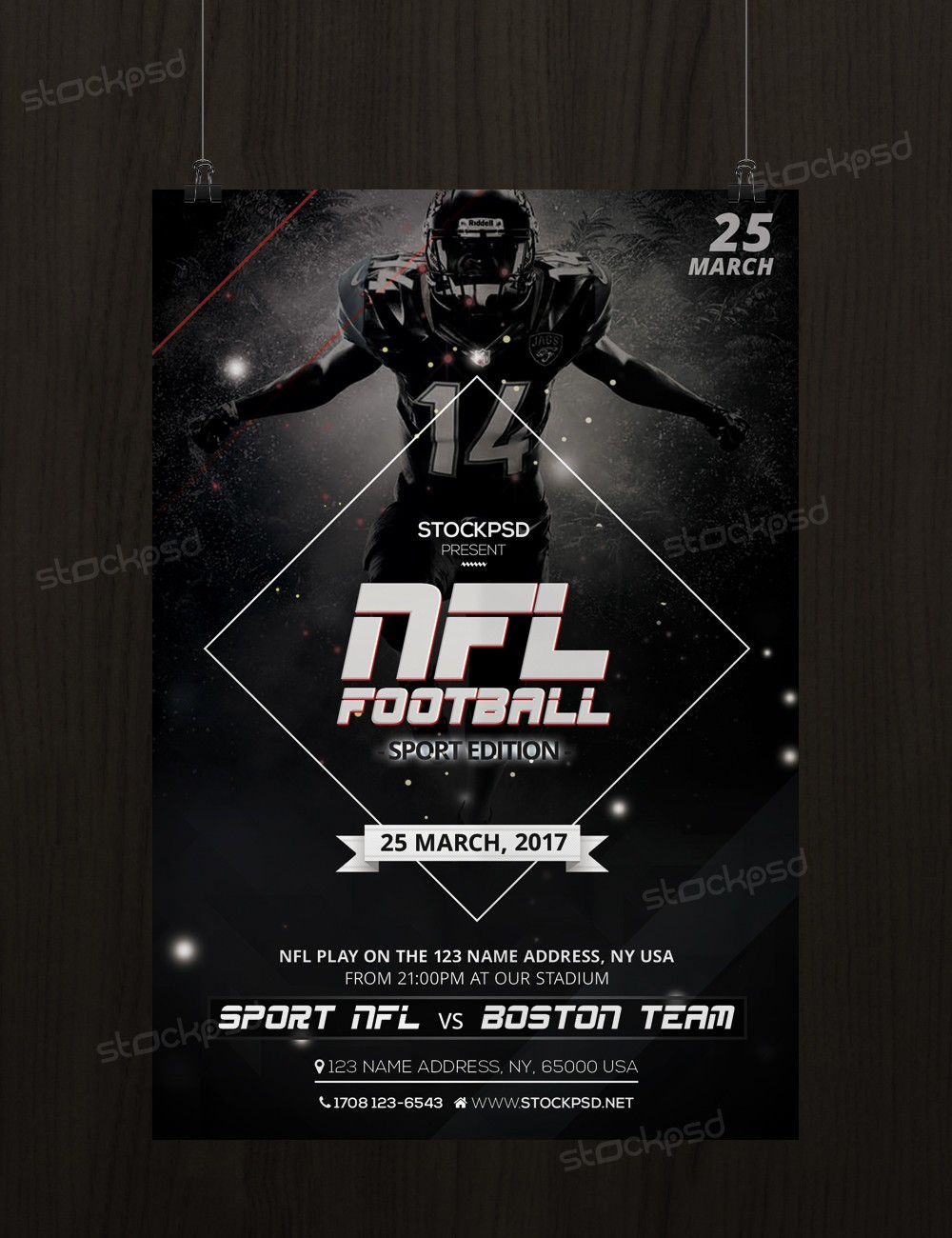 psd flyers brochure mockups more templates nfl football sport psd flyer template