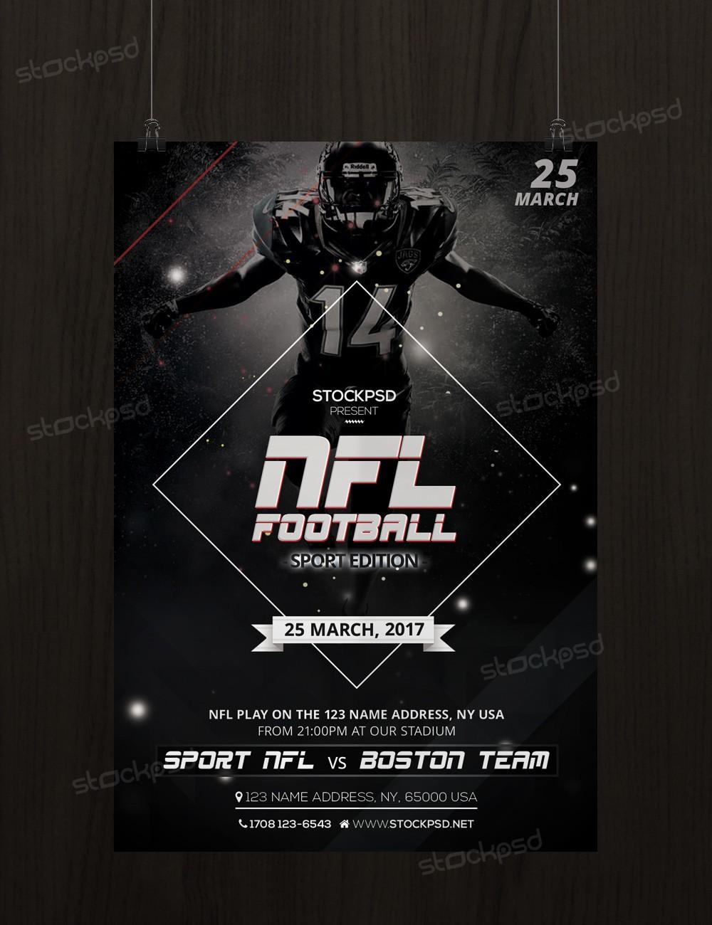 nfl football free sport psd flyer template stockpsd