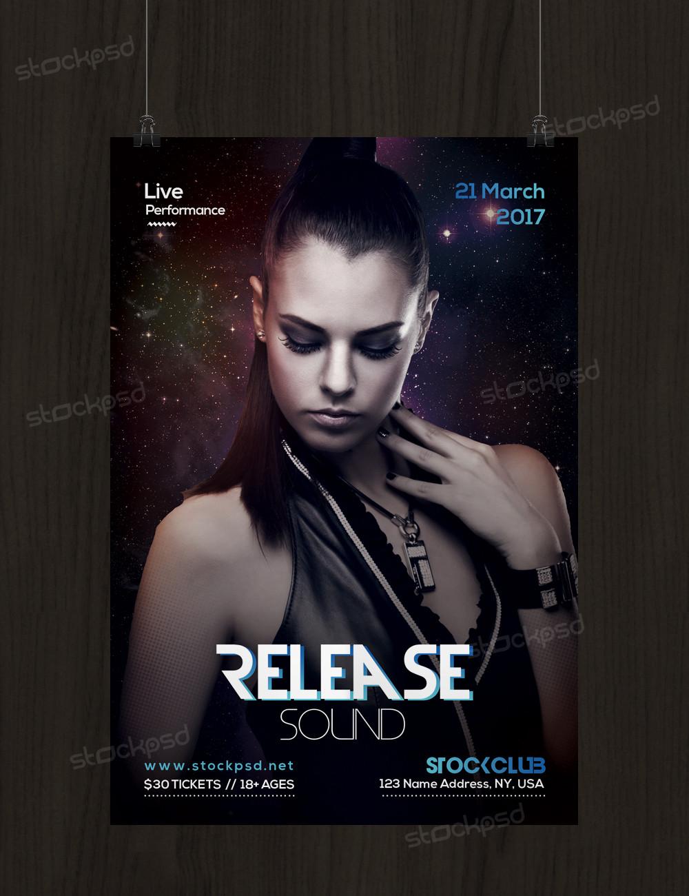 Release Sound – Freebie PSD Flyer Template