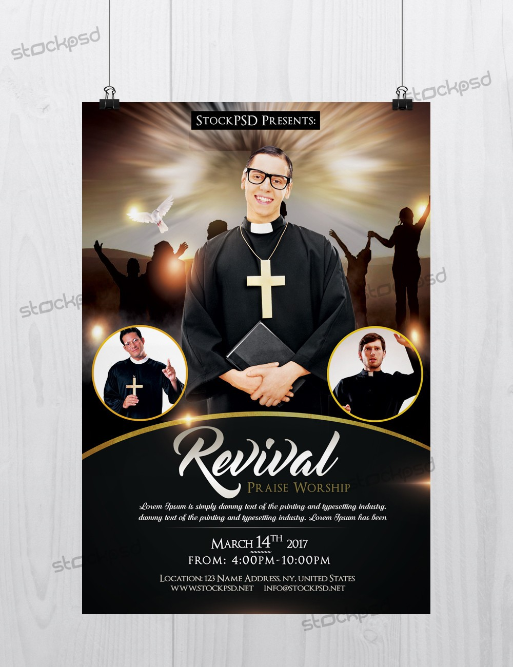 Free psd flyers brochures and more for Free church revival flyer template