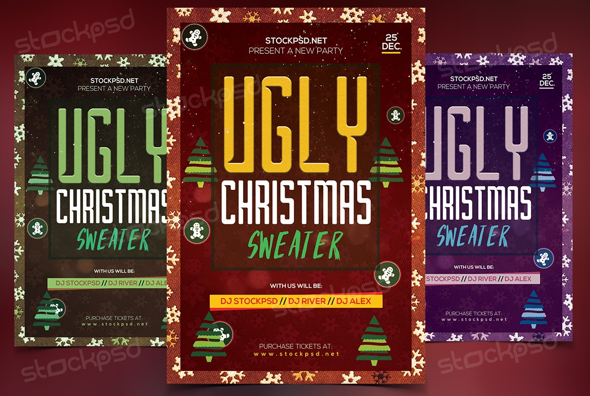 Ugly Christmas Sweater – Download Free PSD Flyer Template