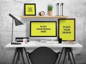 Desk Scene Mockup – Download Free PSD Mockups