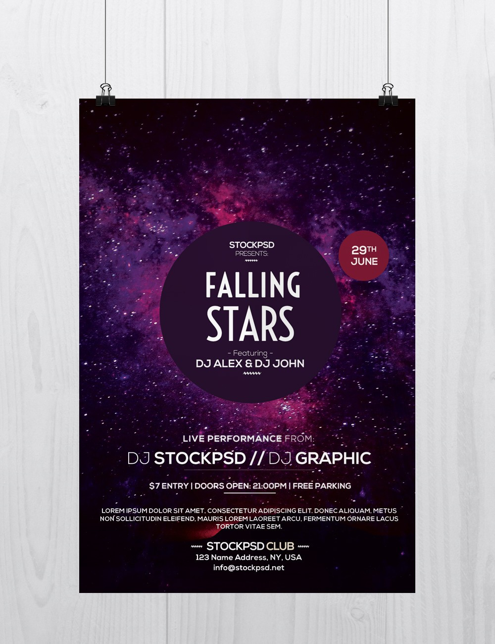 Download free psd photoshop flyer posters templates stockpsd falling stars download freebie psd flyers template saigontimesfo