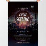 Future Skyline - Free Event PSD Flyer Template