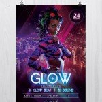 Glow and Neon - Freebie Party PSD Flyer Template