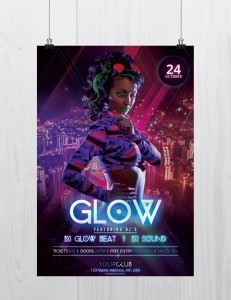 Glow and Neon – Freebie Party PSD Flyer Template