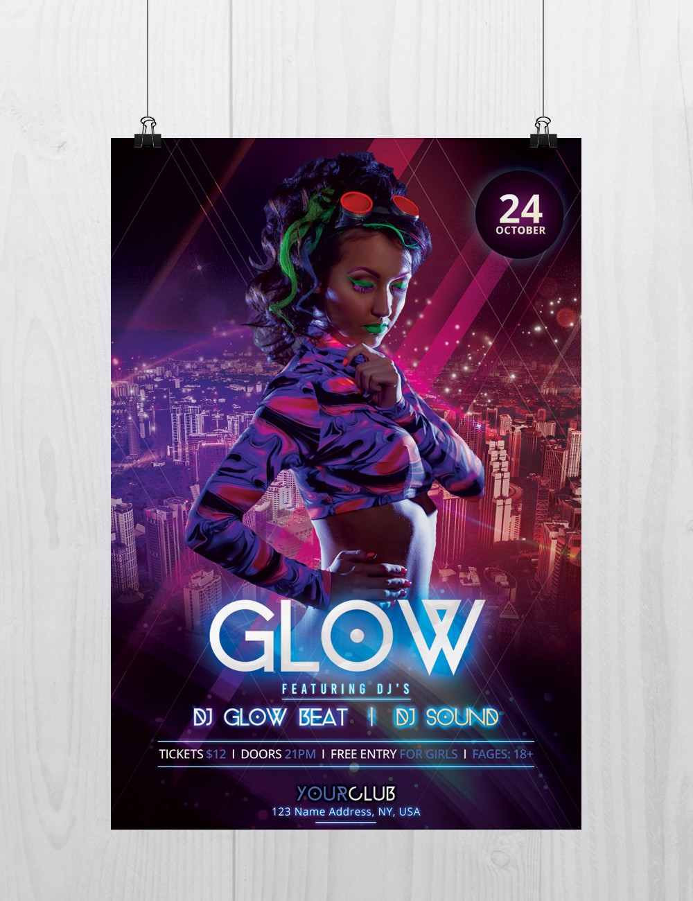 Glow and Neon - Party Free PSD Flyer Template to Download