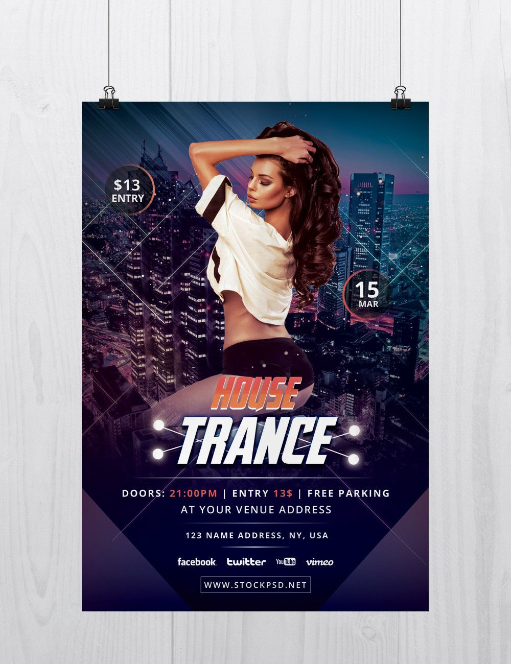 House Trance Download Free Psd Flyer Template Stockpsd