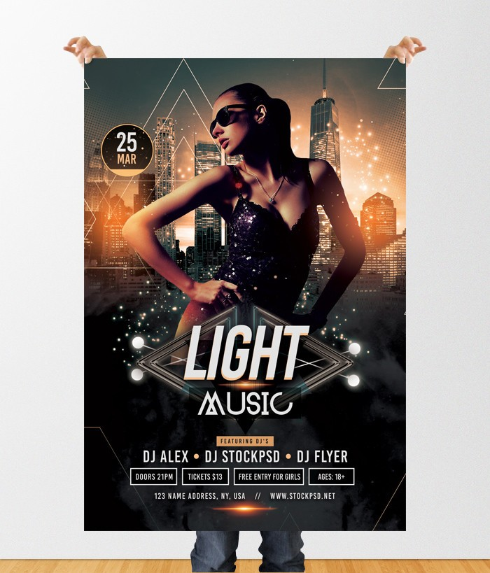 Stockpsd Freebie Templates Light Music Free Psd Flyer