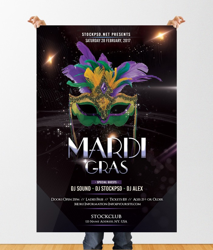 Mardi Gras Party – Download Free PSD Flyer Template