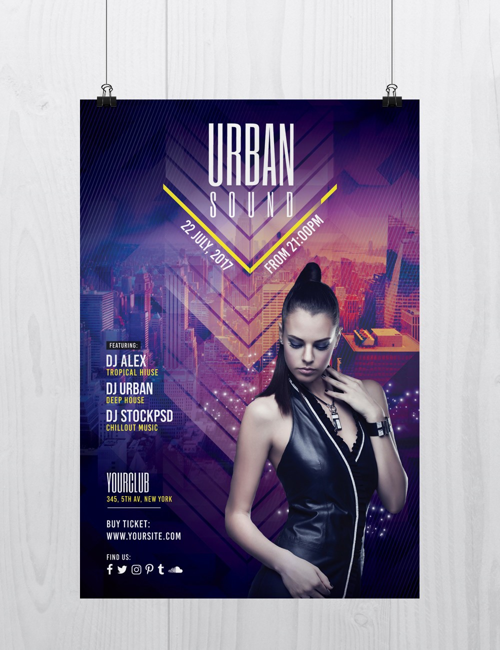 urban sound is free psd photoshop flyer template to download this free psd flyer is fully editable and very easy to edit and customize - Free Psd Flyer Templates