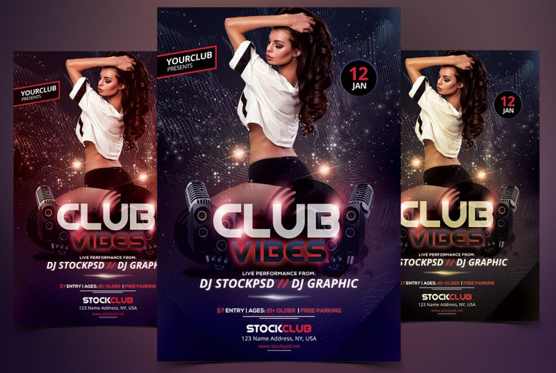 StockpsdNet  Club Vibes Party  Free Psd Flyer Template