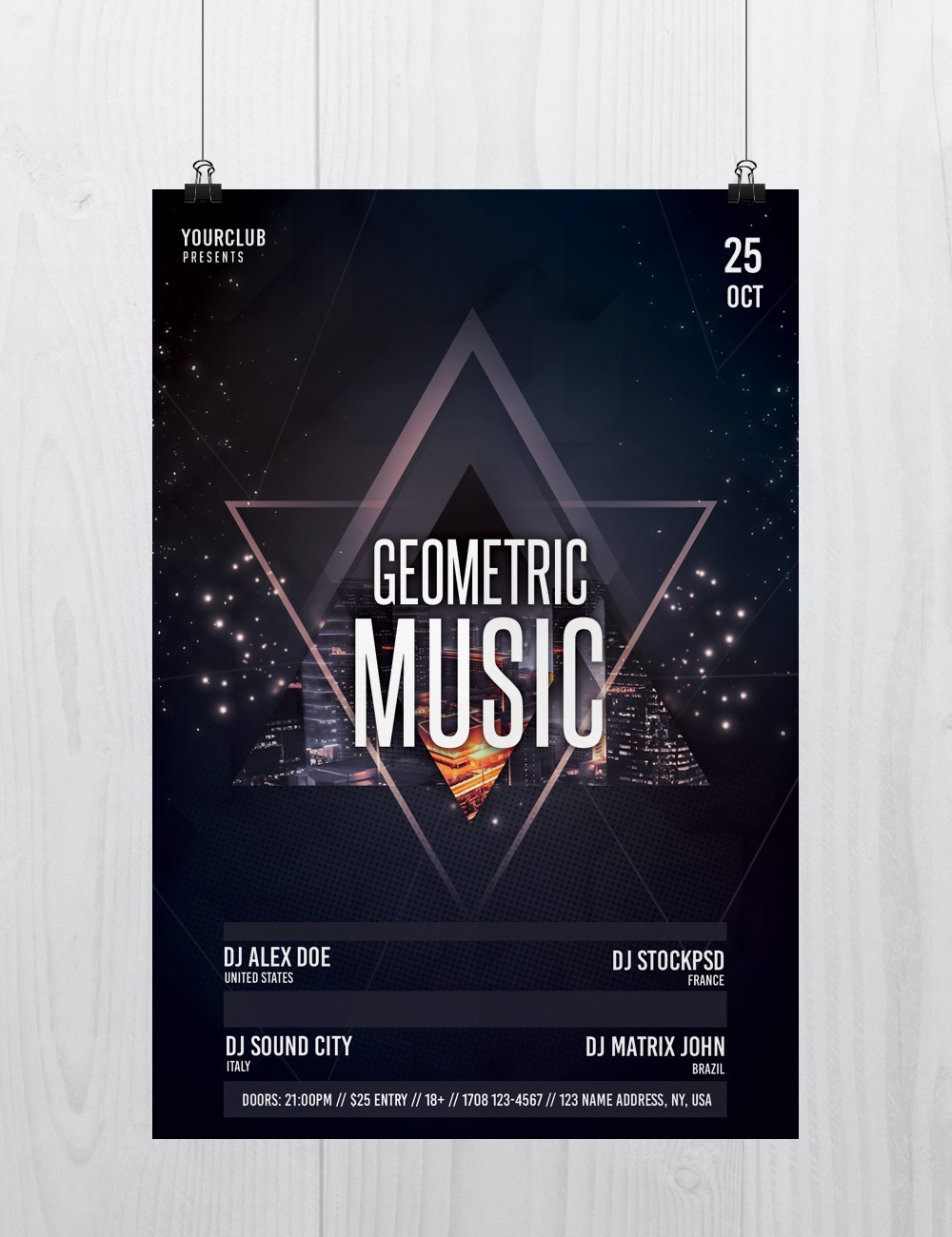 free psd flyers brochures and more geometric music free psd flyer template. Black Bedroom Furniture Sets. Home Design Ideas