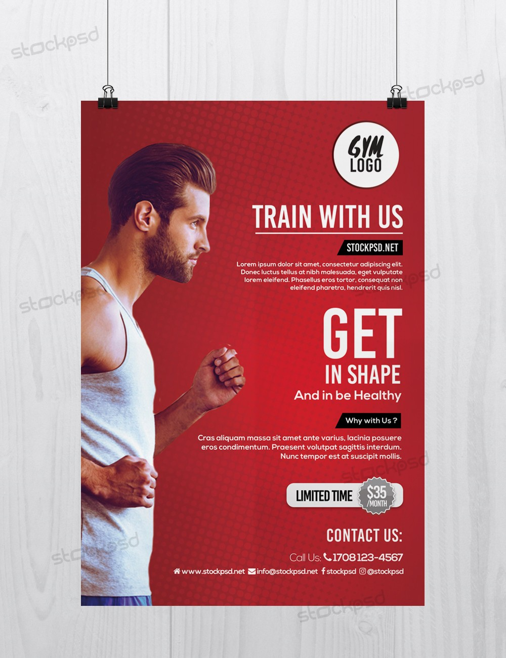 free psd flyers brochures and more fitness gym free psd flyer template. Black Bedroom Furniture Sets. Home Design Ideas