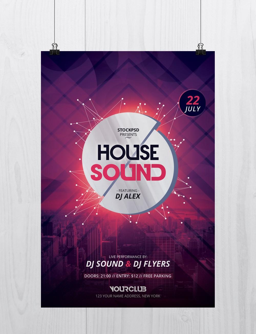 house sound psd flyer template stockpsd net house