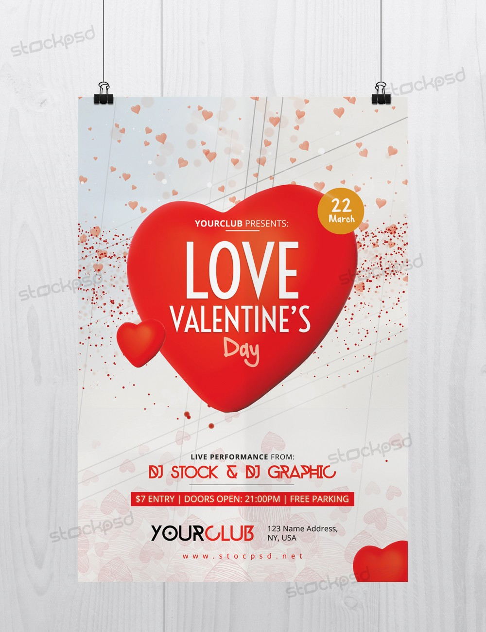Love Valentines Day Free Psd Flyer Template Free Psd