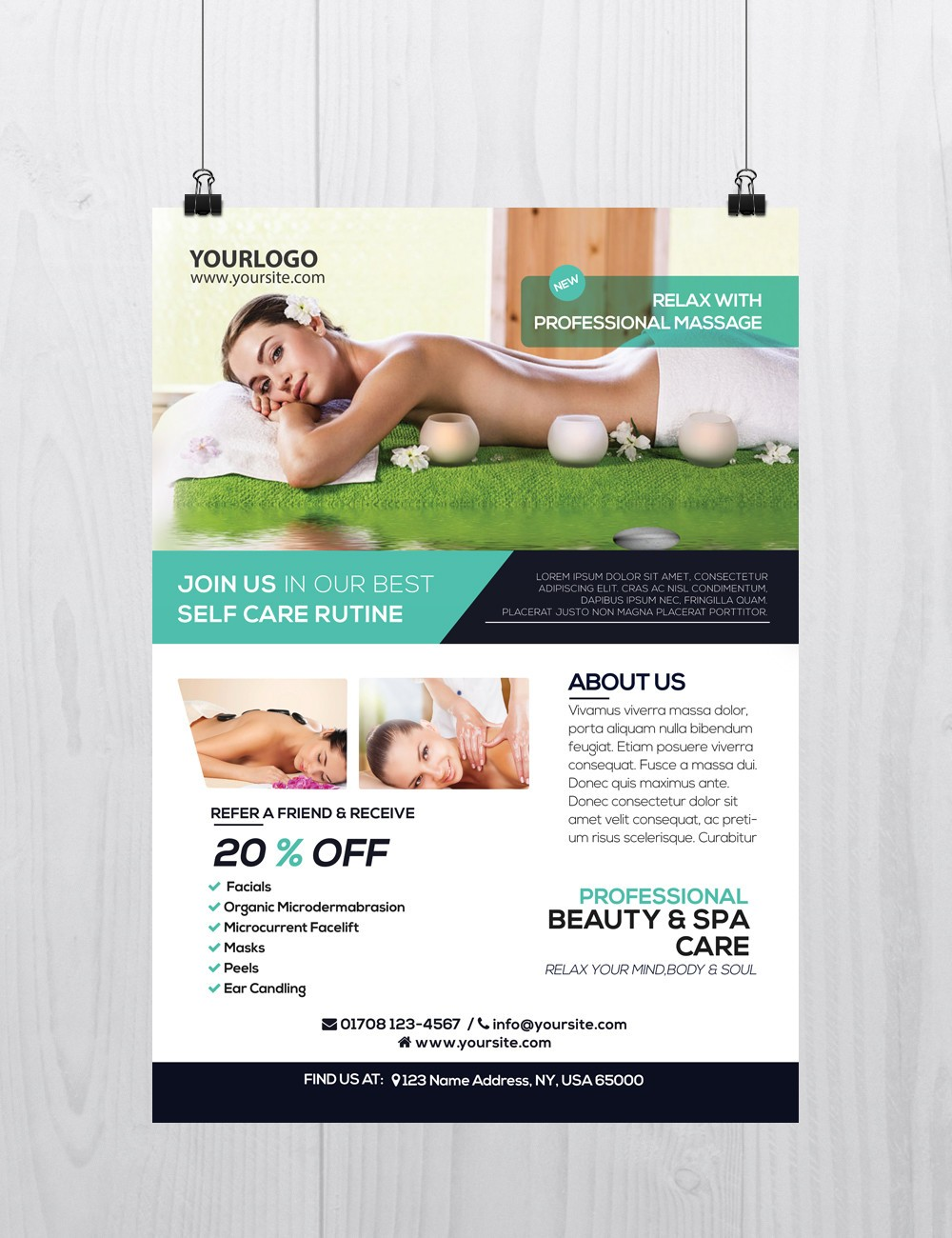 Massage and Health – Download Free PSD Flyer Template