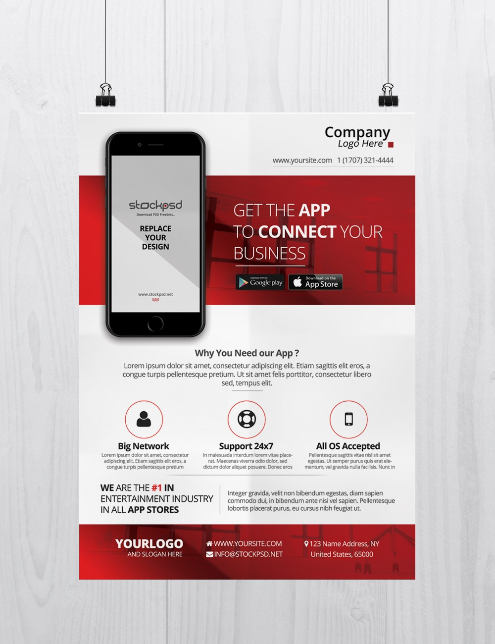 mobile app business free psd flyer template stockpsd