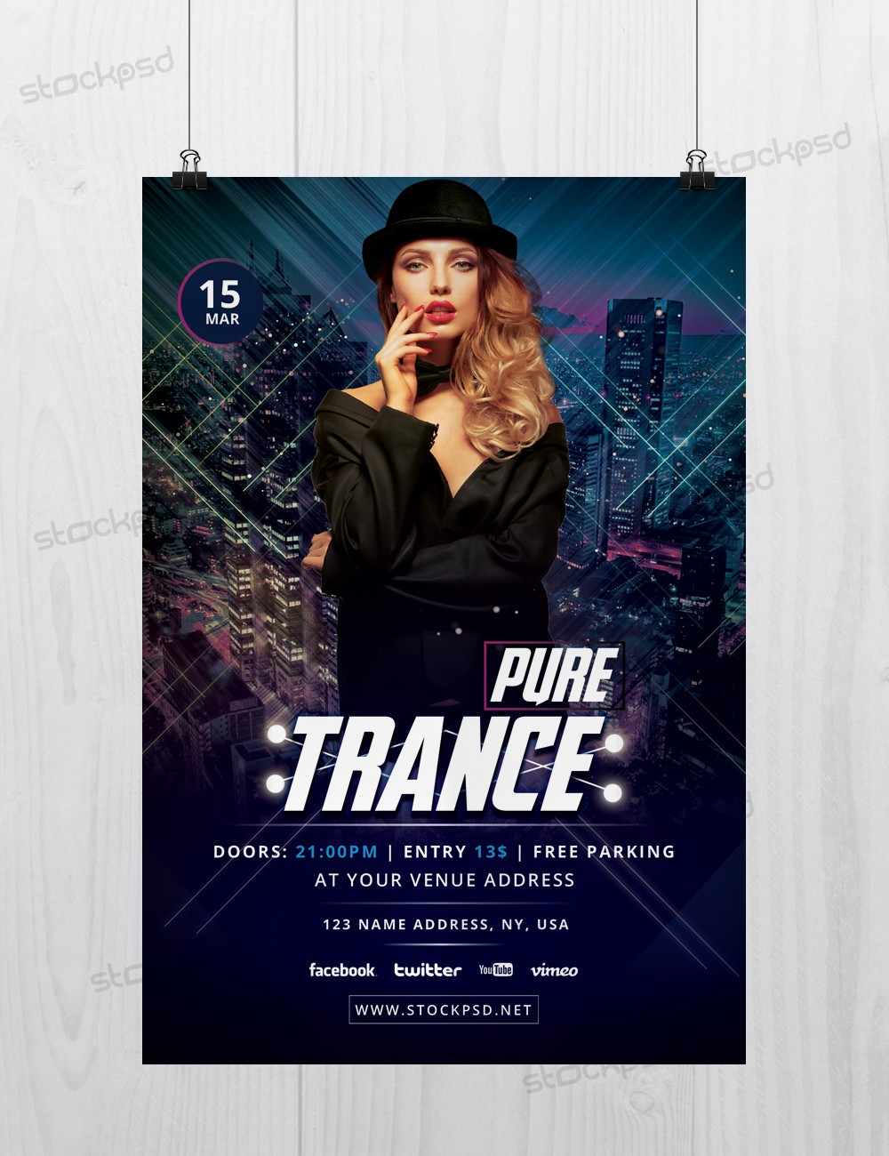 Pure Trance Download Free Photoshop Flyer Template