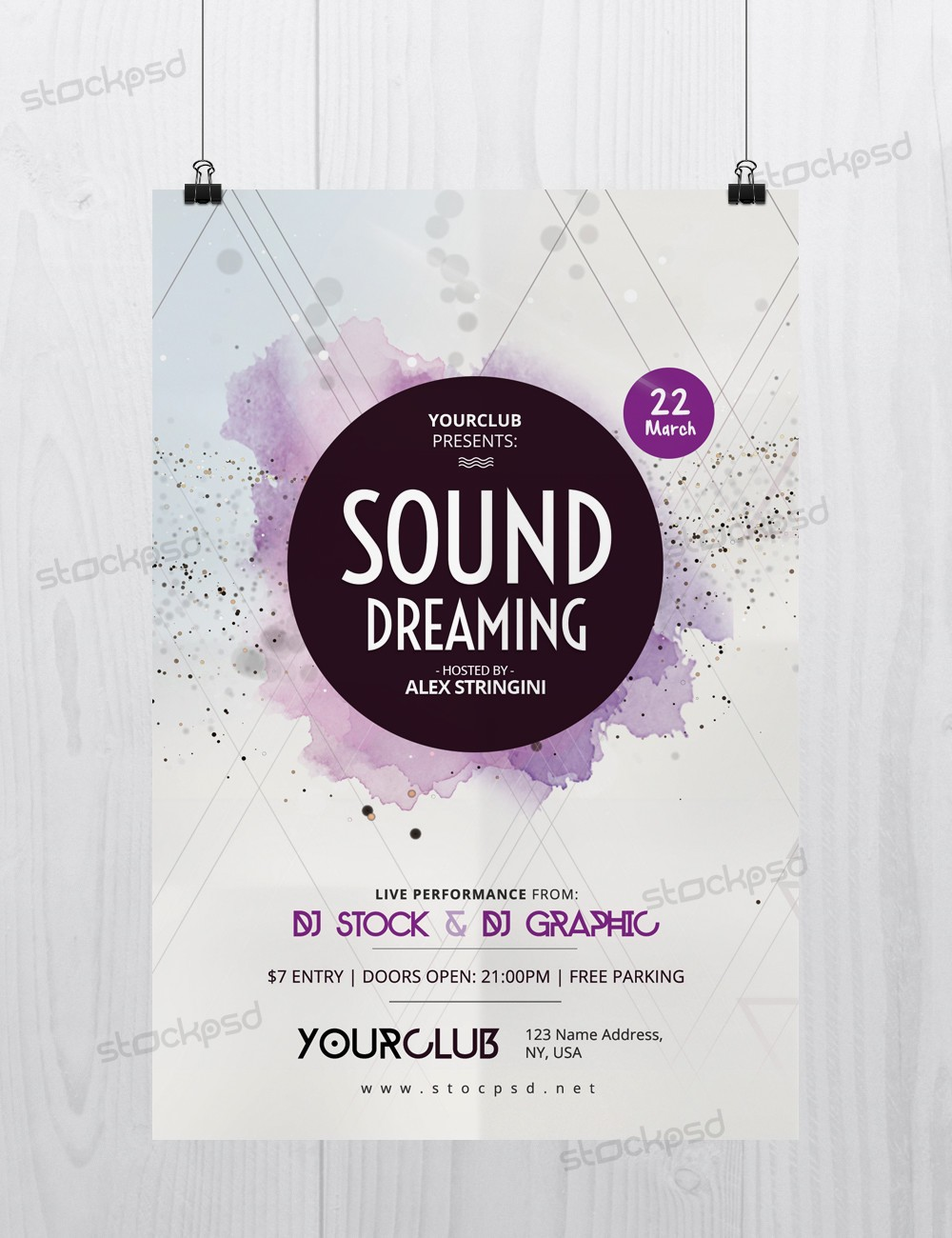 Sound Dreaming - Download Free Photoshop PSD Flyer Template