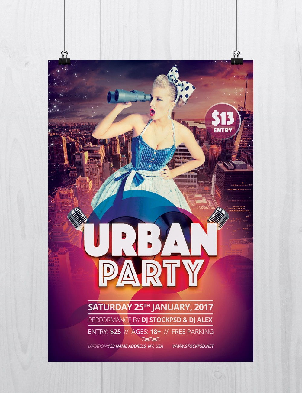 urban party - download free psd flyer template