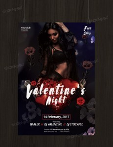 Valentine's Night – Download Free PSD Flyer Template