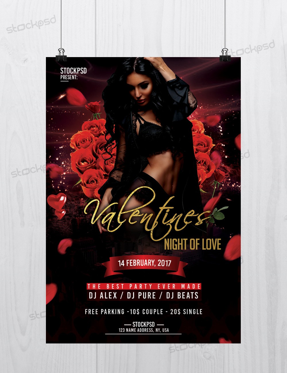 Valentines – Download Free PSD Flyer Template