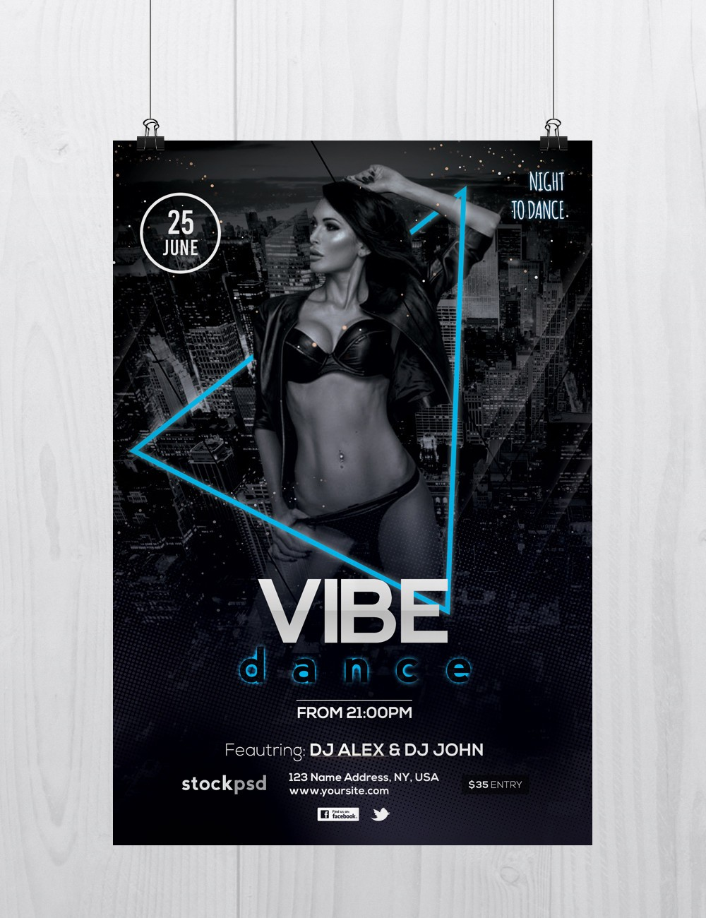 vibe dance free psd photoshop flyer template stockpsd