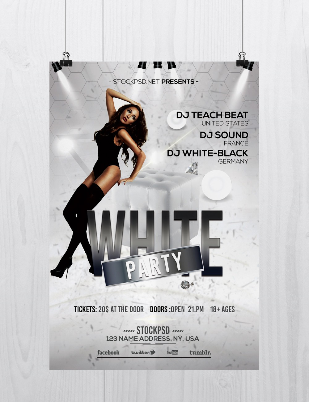 Stockpsdnet Freebie Templates White Party Free Elegant PSD - Black and white flyer template free