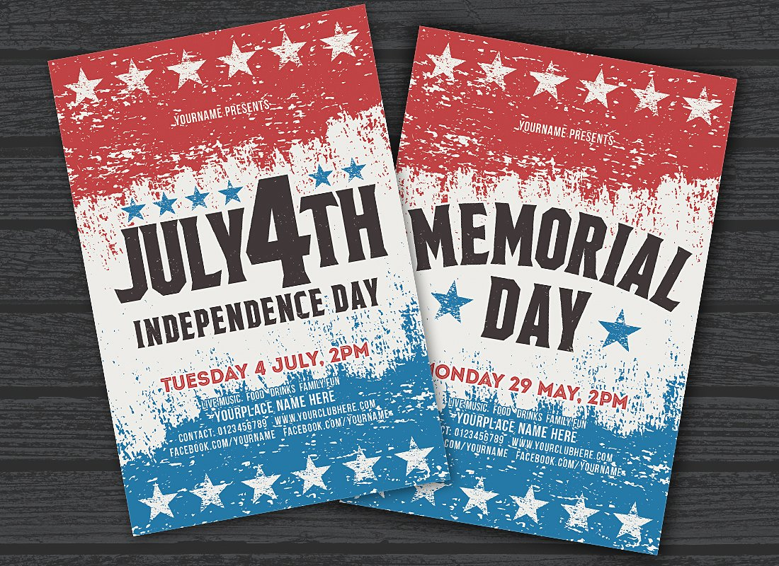 july 4th memorial day psd flyer template