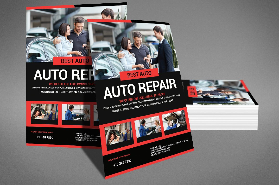 auto repair psd photoshop flyer template stockpsd
