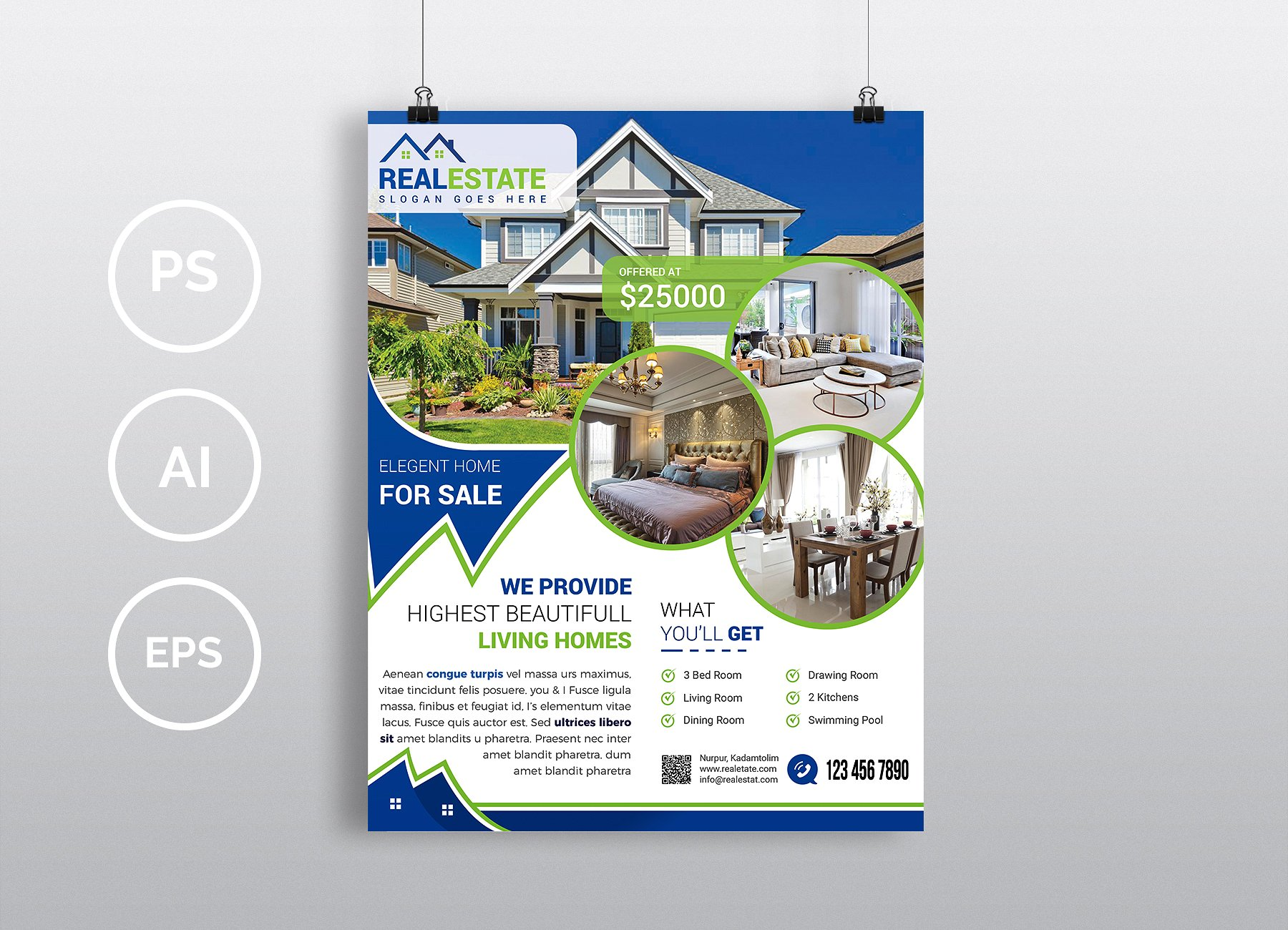 House Brochure Template Stylish House For Sale Flyer Templates - Real estate sales brochure template