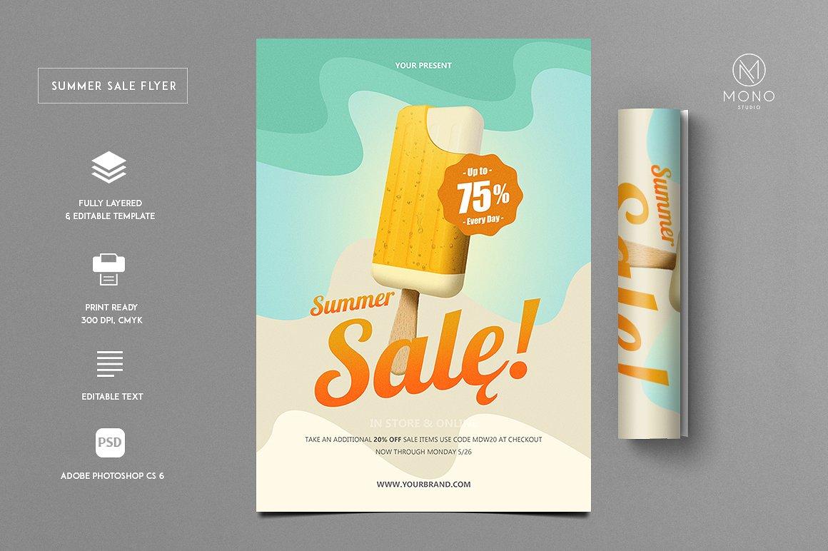 Stockpsdnet Freebie Templates Summer Sale PSD Flyer Template - Sales flyer template photoshop