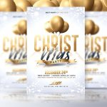 Classy Christmas Party – White and Gold PSD Flyer