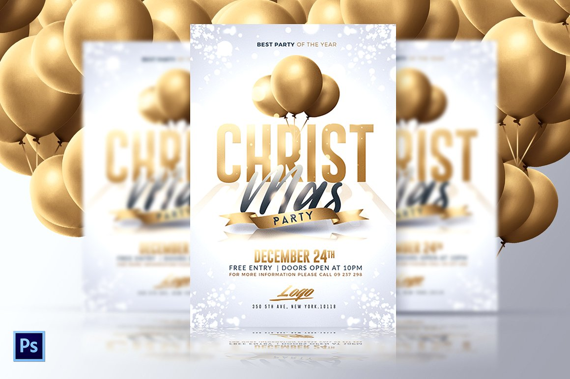 Classy Christmas Party - White and Gold PSD Flyer - Free PSD