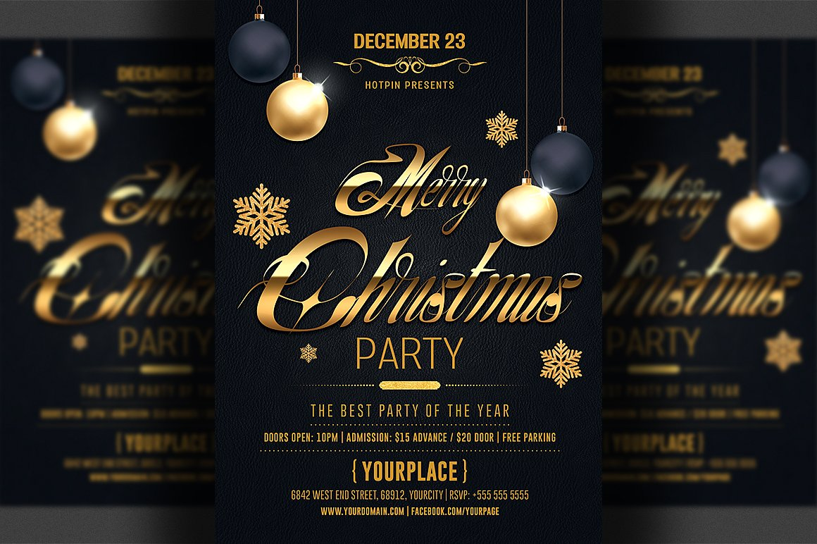 Elegant Christmas Templates: Black And Gold PSD Flyer Template