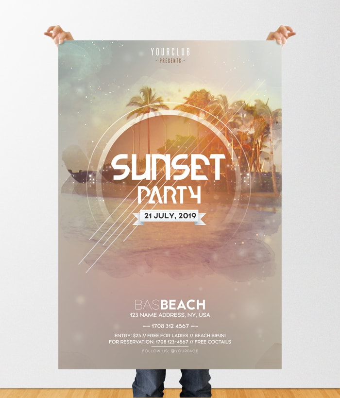 Sunset Party – DJ Free PSD Flyer Template