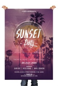 Sunset Party – Download Free PSD Flyer Templates