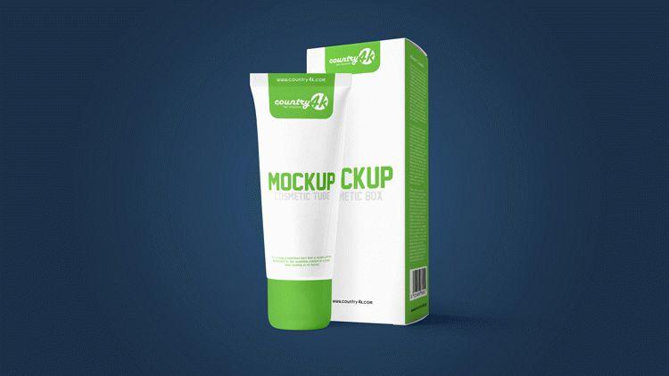 Cosmetic Tube and Box – Free PSD Mockup