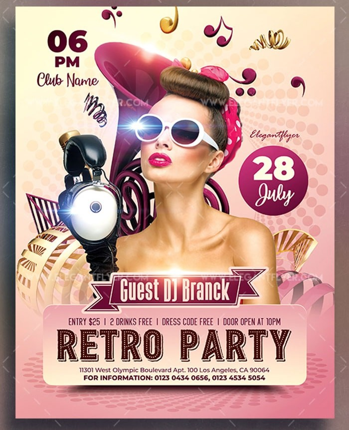 Retro Party Free Flyer Psd Template Stockpsd