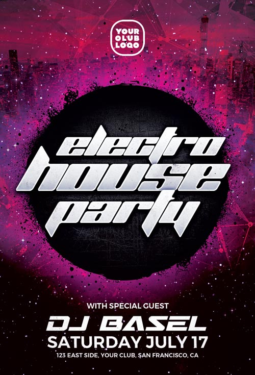 Electro House Party – Download Free PSD Flyer