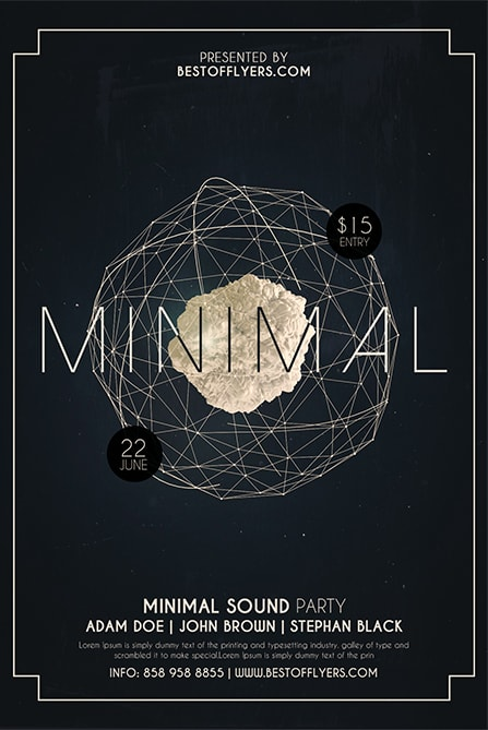 Minimal Party – Free PSD Flyer and Poster Template