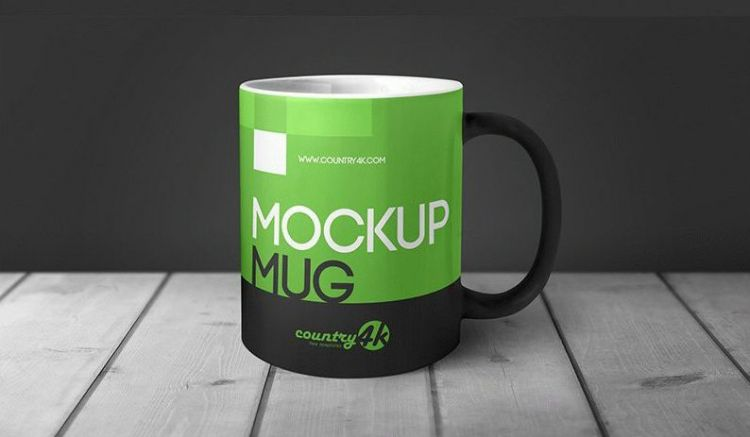 Mug in Table - Free PSD Mockup