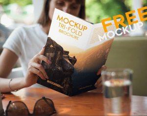 Browsing Tri-Fold Brochure – Free PSD Mockup